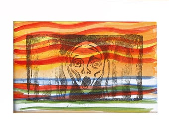 Tribute to Munch, tribute to Munch, print, Linocut, Print, Linocut, hand watercolored, Acrylic paint on paper, Watercolored by hand.