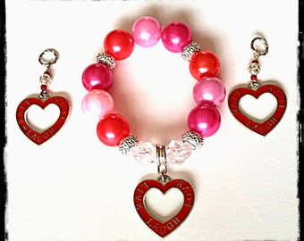 Beaded Charm Bracelet:  Live, Laugh, Love Beaded Charm Bracelet  (matching hearing aid charms available at a discounted bundle price)!