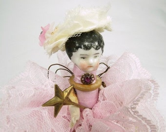 """Assemblage Angel """"Lacy Pastel Pink""""  Assemblage Art Doll, Antique Doll Parts, Vintage Style Art Doll"""
