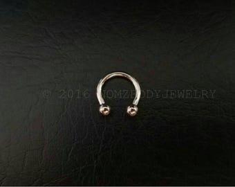 "Small Titanium Septum Horseshoe Ring 16g 5/16""(8mm) 3/8"" (10mm)  1/2"" (12mm) Daith Snug Orbital Helix Tragus Lip Ring Internally Threaded"