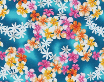 Plumeria Tropical Floral Fabric Tiare Lei Flowers Gold Pink White Blue for Fashion Apparel Crafts HCN10480, AskForBulk
