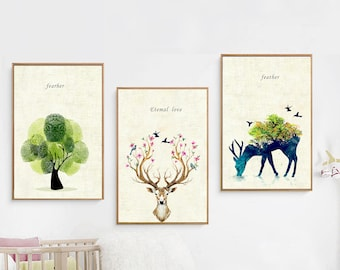 Deer&Tree  Painting Wall Art