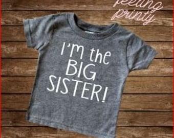Big sis Shirt I'm the Big Sister Shirt Girls Shirt New Sister grey shirt