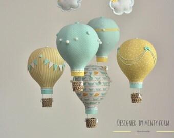 Mint Yellow White Hot Air Balloon Mobile Travel Theme Nursery Decor Custom Mobile World Map