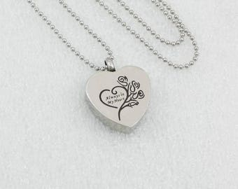 Always in my Heart Urn Necklace | Cremation Ashes Jewelry | Remembrance Charm Necklace