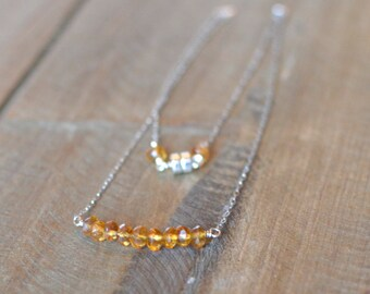 Natural Citrine Necklace, Sterling Silver Bar Necklace, November Birthstone jewelry. Ready to ship.