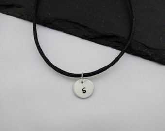 Initial Choker Necklace, Letter Necklace, Initial Jewellery, Initial Gift, Choker Necklace, Hand Stamped Necklace, Personalised Gift