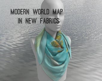 World Map Scarf  -  current, modern map, teal, aqua, conversation piece women' s apparel scarf, colorful, gift for mom, pocket square