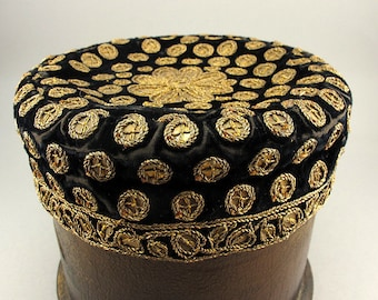 Antique Metallic Thread Embroidered Hat Antique Textiles Black And Gold Velvet Fabric Handmade Antique Accesories Antiques Collectibles