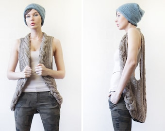 Vintage beige brown sheer braid knit deep armhole vest top