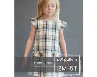 Dorset dress PDF sewing pattern and tutorial 12m-5t  tunic dress jumper  easy sew