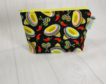 Cinco de Mayo Black  Zipper Notions Pouch, Mini Zippered Wedge Bag, Craft Pouch NP0053