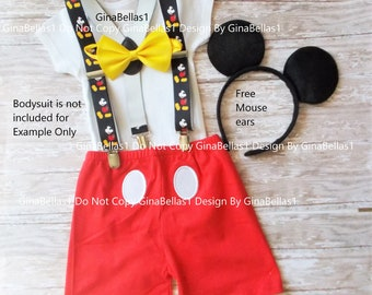 Mickey Mouse Birthday outfit cake smash costume boy bow tie SHORTS clubhouse FREE ears choice of suspenders 3rd 2T 3T toddler SALE
