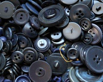 Buttons - Supplies - Pound of navy blue buttons, bulk buttons, bulk button lot, craft buttons, blue buttons, dark blue buttons