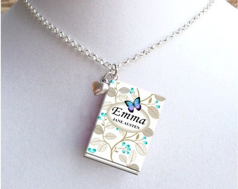 Emma with Tiny Heart Charm - Miniature Book Necklace