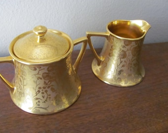 Vintage Stouffer Gold Creamer and Sugar Excellent