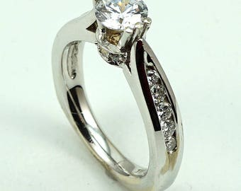 Engagement, Anniversary, Wedding Ring 14K White Gold with 16-Round Diamond Side Stones at 0.40 Cts.