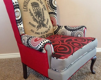 Custom Upholstered Wingback Accent Chairs with Vintage French Grain Sacks