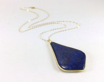 Gold Lapis Necklace Lapis Pendant Necklace Lapis Lazuli Jewelry Natural Gemstone Layering Boho Necklace Blue Gold Necklace 14K Gold Fill
