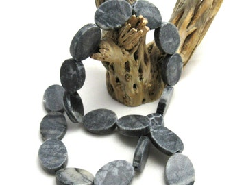 1 Strand Natural Black Grey Marble Beads Flat Oval (B93d)