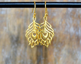 Boho Peacock Feather Earring in Gold Vermeil