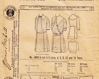 """1900's Girl's Dress Pattern  McCall 4864  1908 Nautical Style Dress with Four Gored Skirt  24-1/2"""" Breast Measure"""