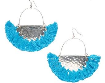 Turquoise Blue Tassel earrings,Silver festival jewelry-fringe earrings-Boho earrings-Bohemian jewelry-Coachella earrings-free spirit AE235TS