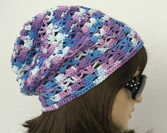 Women Crochet Summer Hat Women Summer Slouchy Beanie in Color Changing Yarn Women Spring Hat