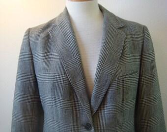 Menswear Ladies  Vintage Medium Black White Check Career  Jacket 12  Slightly Fitted Blazer Wool Classic Bust 38