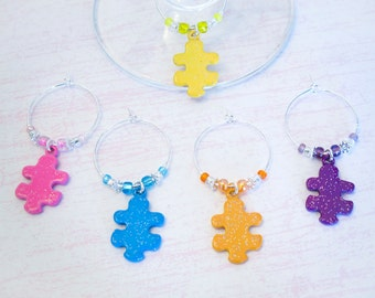 Puzzle Piece Wine Charms - Set of 5 Puzzle Wine Glass Charms