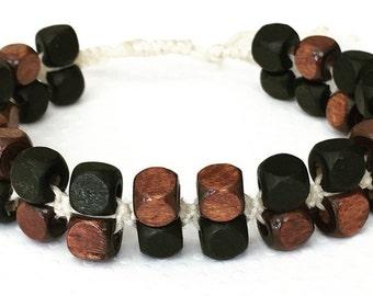 Mens bracelet. Handmade jewelry. Wood bracelet. Wood adjustable bracelet. Natural bracelet. Wood braided bracelet. Sugarplum Gallery.
