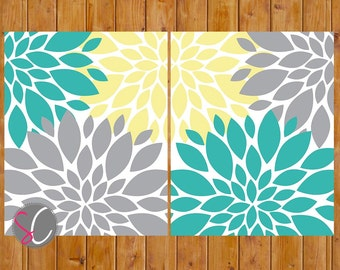 Floral Flower Burst Yellow Grey Teal Set of 2 Wall Baby Decor Bedroom Bathroom 8x10 High Resolution JPG Files Printable