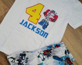 Sauvetage bots anniversaire t shirt imprimé - garçons transformateur chemise et Short