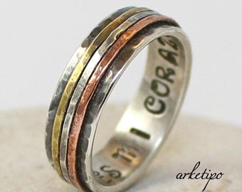 Personalized sterling silver Ring.. Wedding Band.. Custom Silver Ring.. Sterling silver brass and copper Ring.. Mens / womens Band..