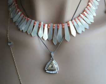 Coral Mother of Pearl Vintage Necklace