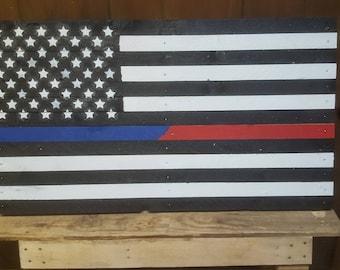 Thin line flag or american flag