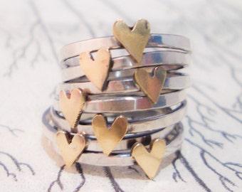 Brass Heart Ring in Sterling Silver