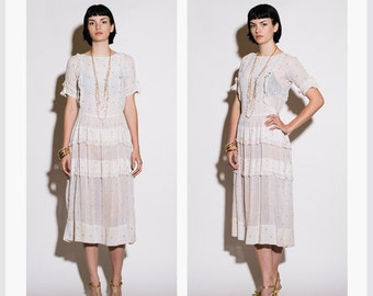 Vintage 1920s White Cotton Embroidered Floral and Lace Tea Dress