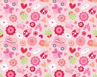 Clearance FABRIC LOVEBUG and Hearts Valentines Day  1/2 Yard