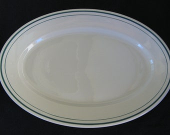 "Syracuse 13-1/2"" Hotel Restaurant  White with Green Bands Platter in Excellent Condition"