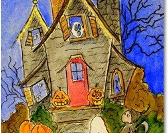 Halloween Haunted House postcard print by Carmen Ellis