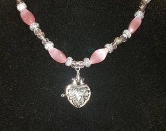 Pink Heart Locket Set