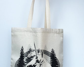 UNICORN- Eco-Friendly Market Tote Bag - Hand Screen printed (Ships FREE!)