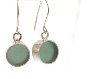 Silver and sea green translucent resin earrings