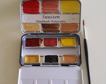 Autumn handmade watercolor palette (Full pans)
