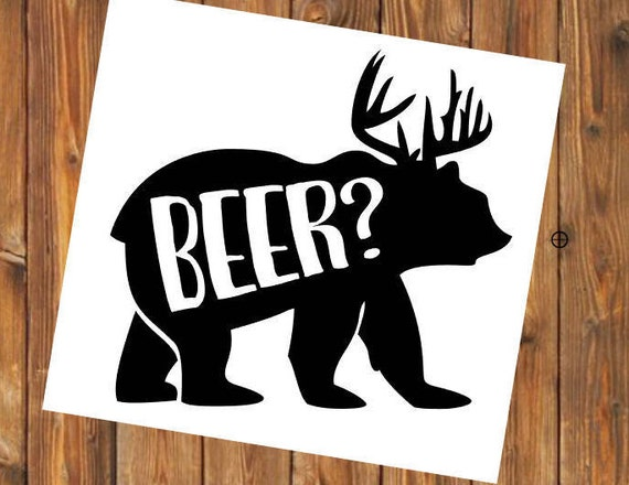Free Shipping- Personalized Beer Deer Bear Hunting Decal Sticker, Western Southern Texas Farmer Rancher Yeti RTIC SIC, Laptop Sticker Decal