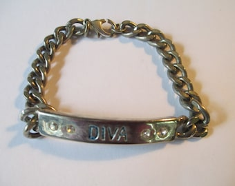 "Vintage ""DIVA"" silver tone chain ID  Name bracelet with clear crystals used no markings"