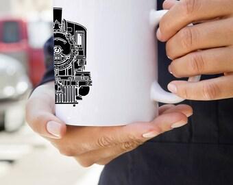 KillerBeeMoto:  U.S. Made Train Locomotive Steam Engine Coffee Mug (White)