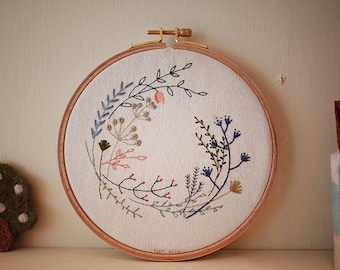 Embroidery Kit - Plants drawing in 6 inch Hoop - Beginner Level Kit and Pattern