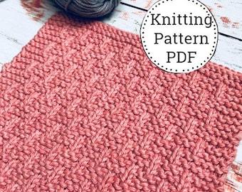 Knitting Pattern | Dishcloth Pattern | Knitted Dishcloth | Basket Weave Pattern | Instant Download PDF |